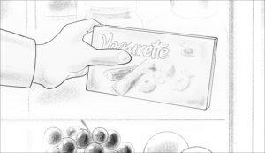 Die Hand nimmt die Yogurette-Packung aus dem Kühlschrank