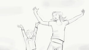 Mutter Tochter springen hoch