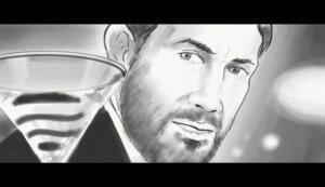 Marcus Niehaves schaut auf das Kokteilglas