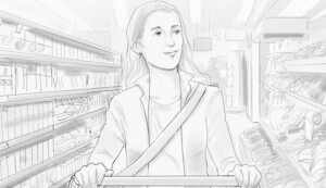 Frau im Supermarket