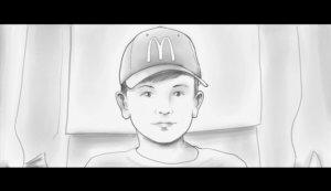McDonalds Junge geht vor seinem Vater