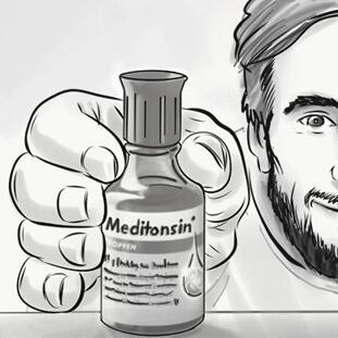 Titel-Meditonsin-Flasche im Vordergrund