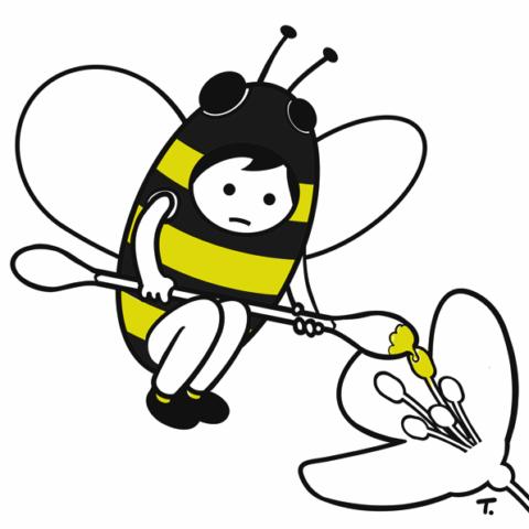 Mensch als Biene verkleidet mit Wattestaebchen Blüte