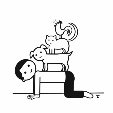 bremermusikanten mit mann, hund, katze und hahn