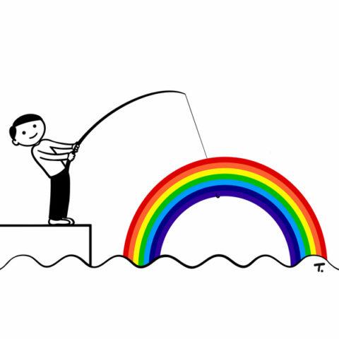mann angelt regenbogen