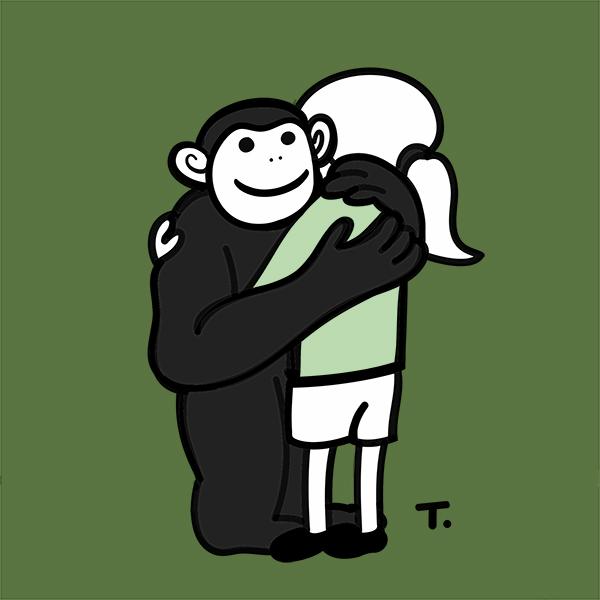 Jane Goodall mit Schimpanse, Umarmung